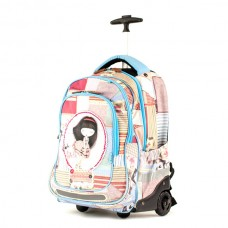 ANEKKE Ergonomic School Backpack With Wheels Patchwork