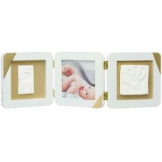 Baby Art Double Print Frame White Gold