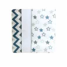 Barbabebe Baby Swaddle blanket 3 pcs blue