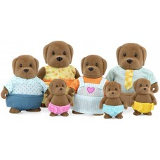 Battat Li'l Woodzeez The Wagadoodle Dog Family Set with Triplets
