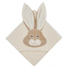 Bio Baby Hooded Baby Bath Towel 100% organic cotton, beige bunny