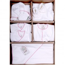 Bio Baby Newborn Baby Set 9 pieces 100% organic cotton, pink edging