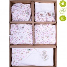 Bio Baby Newborn Baby Set 9 pieces 100% organic cotton, pink hearts