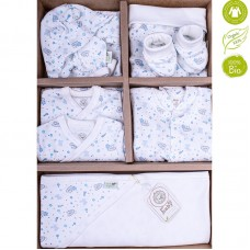 Bio Baby Newborn Baby Set 9 pieces 100% organic cotton, blue bunnies