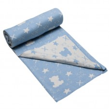 Bio Baby Double sided baby blanket 100% organic cotton, blue