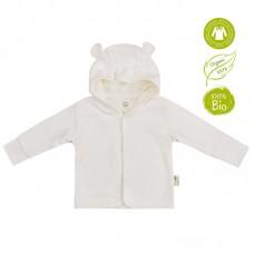 Bio Baby Hooded baby jacket organic cotton, ecru