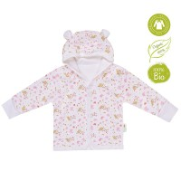 Bio Baby Hooded baby jacket organic cotton, pink hearts
