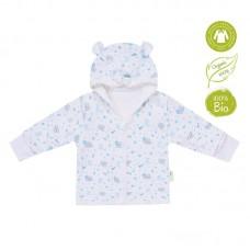 Bio Baby Hooded baby jacket organic cotton, blue bunnies