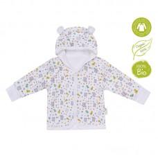 Bio Baby Hooded baby jacket organic cotton, grey bunnies