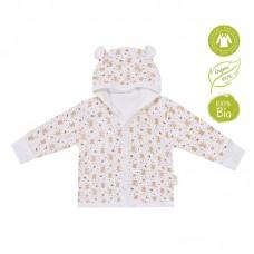 Bio Baby Hooded baby jacket organic cotton, bunnies and bears