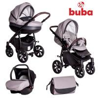 Buba Бебешка количка 3 в 1 Estilo, сиво-черна