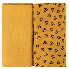 Bubaba Двуслойни муселинови пелени 2 броя, жълти