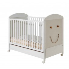 Bucko Бебешко дървено легло Smile White