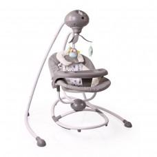 Cangaroo Бебешка електрическа люлка Woodsy сива