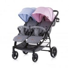 Chipolino Бебешка количка за две деца 2 Classy, синьо - розово
