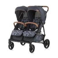 Chipolino Бебешка количка за близнаци Пасо Добле сив гранит