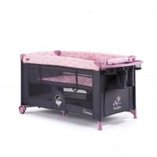 Chipolino Foldable travel cot Dormeo, peony pink