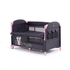 Chipolino Foldable travel cot with drop side Merida, peony pink
