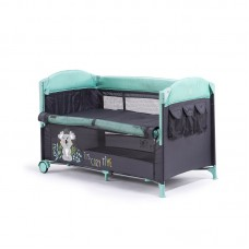 Chipolino Foldable travel cot with drop side Merida, mint