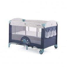 Chipolino Baby Play pen and crib with drop side Merida marine blue