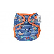 Close Parent Single Printed Reusable Popper Nappy +bamboo Garden blue