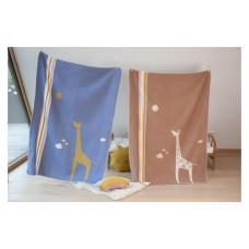 David Fussenegger Детско одеяло Juwel 100х140 см Жираф, синьо
