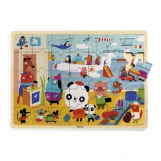 Djeco Airport Wooden Tray Puzzle