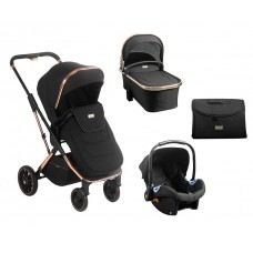Kikka Boo Baby Stroller 3 in 1 Angele, Chrome Black