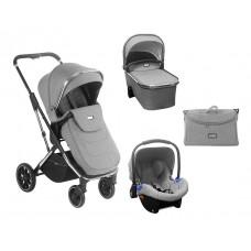 Kikka Boo Baby Stroller 3 in 1 Angele, Chrome Grey