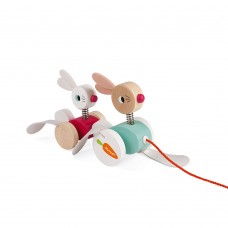 Janod Wooden toy Pull along Rabbits