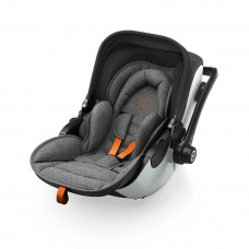 Kiddy Car seat Evoluna i-Size (0-13kg) with Isofixbase Grey Melange Safe Orange