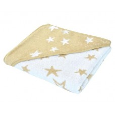 Kikka Boo Бебешка хавлия за баня с качулка Stars бежова