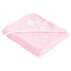 Kikka Boo Бебешка хавлия за баня с качулка и бродерия розова