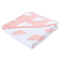 Kikka Boo Бебешка хавлия за баня с качулка Clouds розова
