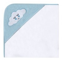 Kikka Boo Бебешка хавлия за баня с качулка велур Sleepy Cloud синя