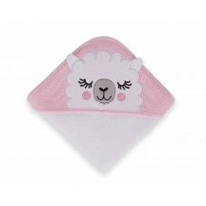 Kikka Boo Sleepy Lama Hooded Towel pink