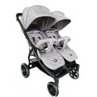 Kikka Boo Happy 2 Twin Stroller Light grey