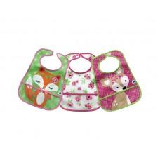Kikka Boo Terry washable Bib with Pocket 3 pieces, Fox Flowers Deer