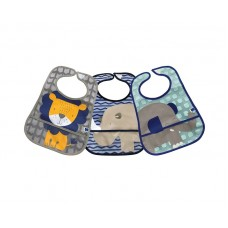 Kikka Boo Terry washable Bib with Pocket 3 pieces, Lion Rhino Elephant
