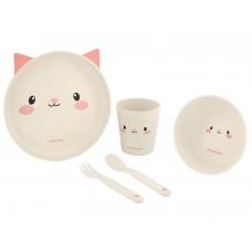 Kikka Boo Baby Dish Set Bamboo Cat pink