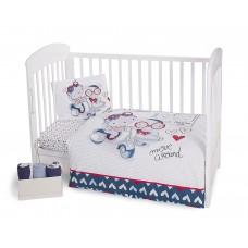 Kikka Boo Baby 5-elements Bedding Set Love Rome Blue