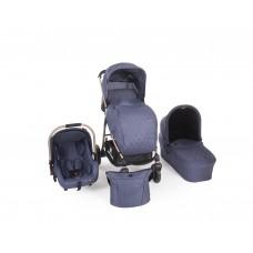 Kikkaboo Baby Stroller Trinity 3 in 1 Blue Melange Golden frame