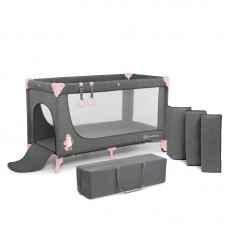 KinderKraft Travel Cot Joy Simple pink