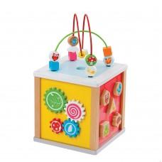 Lelin Toys Дървен дидактически куб