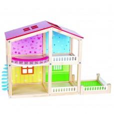 Lelin Toys Дървена двуетажна къща за кукли Фантазия