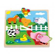 Lelin Toys Дървен музикален пъзел Ферма