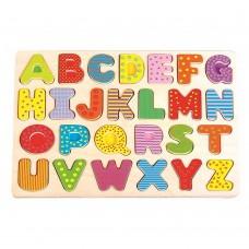 Lelin Toys Дървен пъзел Английска азбука, главни букви