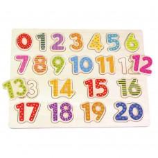 Lelin Toys Дървен пъзел Числата от 1 до 20