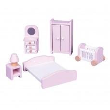 Lelin Toys Дървени мебели за игра Спалня