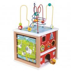 Lelin Toys Голям дървен дидактически куб Ферма